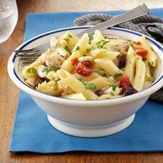 Greek Chicken Pasta Recipe from Taste of Home -- shared by Susan Stetzel of Gainesville, New York