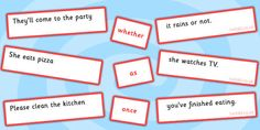 Sentence Matching Game Conjunctions Whether As Once - match, cohesive device Inference, Matching Games, Speech And Language, Sentences, Literacy, Activities, Learning, Frases, Studying