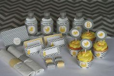 yellow and gray Chevron Baby Shower - too cute!