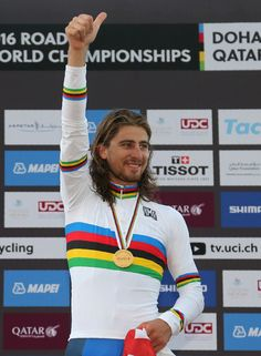 Gold medallist Peter Sagan UCI Road World Championships 2016 Doha / AFP / KARIM JAAFAR