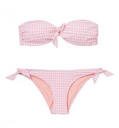 Maillot de bain bandeau Etam 24,90€ le haut 14,90€ le bas Rose Vintage, Vichy Rose, Swimsuits, Bikinis, Swimwear, Pink Outfits, Casual, Swimming, Shopping