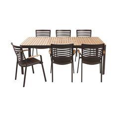 Table à allonge papillon en aluminium et teck Blanc bois - Colombe ...