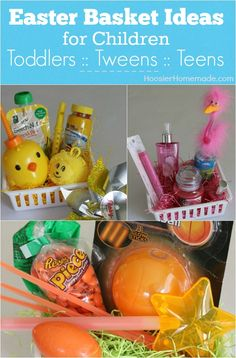 These simple Themed Easter Baskets for Toddlers, Tweens and Teens go together in minutes! The ideas are endless! Yellow for toddlers, Orange Glow-in-the-Dark themed basket for Tweens and Pink for a Teen Girl! Pin to your Easter Board!