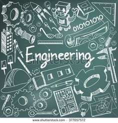Mechanical, electrical, civil, chemical and other engineering education profession chalk handwriting doodle icon tool sign and symbol in blackboard background for subject  presentation title (vector)
