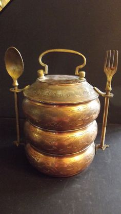 Vintage COPPER TIFFIN Stack Lunch Pail CARRIER via Etsy