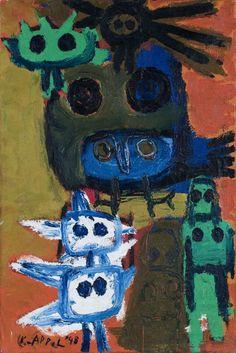 Karel Appel (Dutch, 1921-2006), De Uilen [The Owls], 1948. Oil on canvas, 60 x 40 cm.