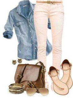 I have ankle pants this color and would love to add a denim top like this....this is exactly the style I love! Great outfit!