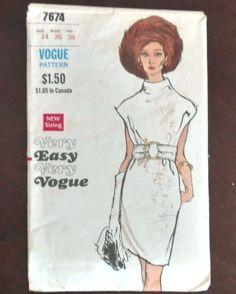 Vogue Mod Dress 7674 Vintage 1960's Funnel Neck Short Dolman Sleeves