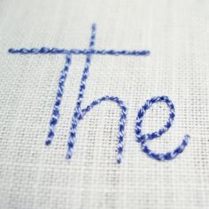 backstitch used to embroider handwriting
