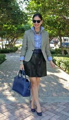 March 13, 2013 http://www.akeytothearmoire.com/post/45266786526/downtown-crossing #cobalt #blue #cerulean #black #gingham #houndstooth #leather #blazer #skirt #wedges #Ralph Lauren #Cole-Haan @ColeHaan #Donna Dressler #SAS #Thomas Charlie #Jones New York #Alberta di Canio #navy #chic #elegant #preppy #classic #hematite #gingham shirt #full leather skirt