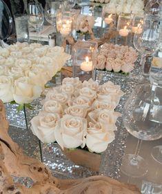 a modern rose design in a mirror vase White Rose Centerpieces, Wedding Centerpieces, Wedding Table, Wedding Decorations, Glamorous Wedding, Dream Wedding, Floral Wedding, Wedding Flowers, Rose Arrangements