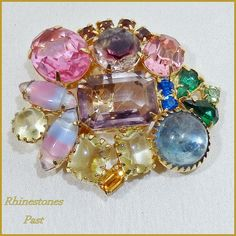 Vintage Brooch Pin Colorful Shapes Glass by RhinestonesPast, $48.00