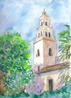 Knowles Memorial Chapel - Watercolor original #rollinscollege #knowleschapel #winterparkflorida