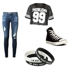 """""""Rebellious look f you"""" by yubir ❤ liked on Polyvore featuring AG Adriano Goldschmied and Converse"""