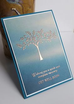 Stampin' Up! Demonstrator stampwithpeg – Get well card with Copper embossing, Hopeful Thoughts and Serene Scenery As soon as I unpacked my Hopeful Thoughts stamp set I wanted to