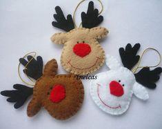 Rudolph the red nosed reindeer, felt Christmas ornament - handmade decorations - set of 3 Homemade Christmas Tree Decorations, Felt Decorations, Felt Christmas Ornaments, Handmade Ornaments, Handmade Decorations, Handmade Christmas, Christmas Diy, Reindeer Ornaments, Handmade Felt