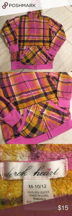 Girls size 10/12 fleece plaid zip up hoodie Girls size 10/12 fleece plaid zip up hoodie. Pink/Black/white/like a goldish Orange. Sooooooooooo soft!! Derek Heart Shirts & Tops Sweatshirts & Hoodies