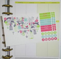 Bright Bird Cage Background Planner Sticker Set  Erin Condren and Happy Planner sizes listed  The stickers are printed on matte adhesive paper