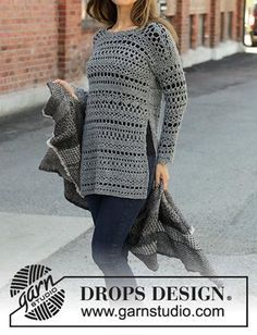 Drops Design, Diy Clothes And Shoes, Magazine Drops, Crochet Patterns For Beginners, Diy Crochet, Baby Patterns, Crochet Clothes, Grey Sweater, Knitting Projects