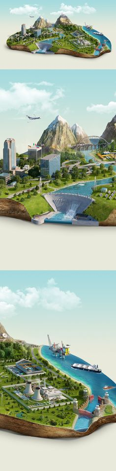 CGI Islands by Pavel Birt, via Behance
