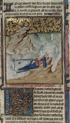"""Jonah in the mouth of the whale, early 15th. Jonah tries to hold on to a rock as the whale swallows him. From """"La Bible Historiaulx ou les Histoires Escolastres"""". ID: Roy 15 D III, fol. 398 verso (detail). The British Library, London, Great Britain"""