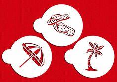 Designer Stencils C360 Beach Cookies Stencils (Flip Flops, Palm Tree, Umbrella), Beige/semi-transparent >>> Trust me, this is great! : Baking desserts tools