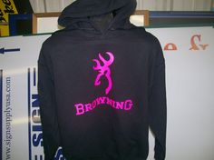 Browning black Hoodie  Neon Pink logo 2   S5XL by Apparelnmore, $26.95