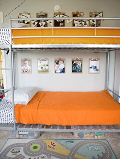 Ideally, I would love both bunk beds to be this metal and then use the yellow on the bedspread.  Love the clipboard idea used in conjunction with the cork board.  More freedom in individual decorating.