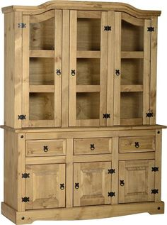 Mexican Corona Distressed Waxed Pine 4ft6 Buffet Hutch Cabinet With Clear  Glass