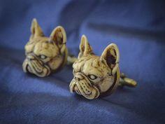 Victorian French Bulldog Cufflinks  Hand by GothChicAccessories, $32.00