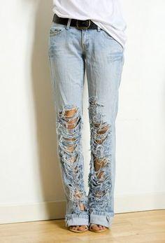 Lindos pantalones rasgados paso a paso -DIY