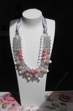 Everything is better in pink! Necklace Rose...soon on www.oggibijoux.com...rose quartz, glass...