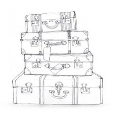 black and white luggage clip art