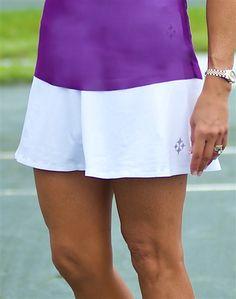 JoFit Jacquard Swing Tennis Skort in White at #golf4her.com