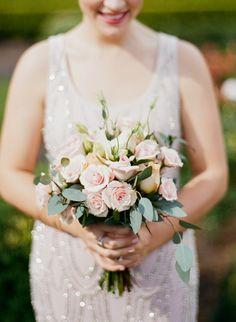 Blush and peach wedding bouquet: http://www.stylemepretty.com/florida-weddings/jacksonville-fl/2016/08/24/garden-museum-wedding-in-jacksonville/ Photography: Emily Katharine - http://www.emilykatharine.com/