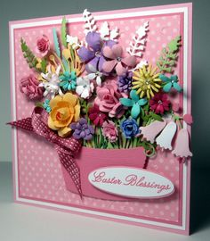 Handmade Card Stampin Up Easter friendship all occasion basket of flowers unique