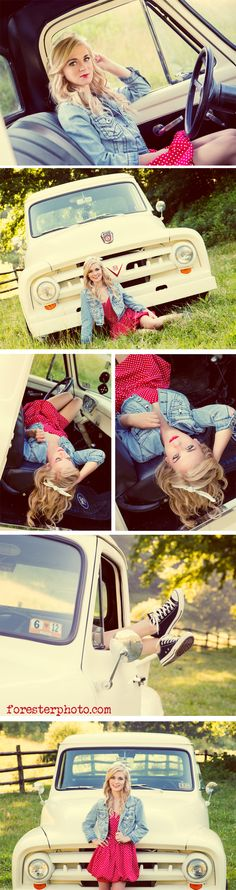 Truck senior picture ideas for girls. Senior pictures with trucks. Truck senior pictures. #truckseniorpictureideas #truckseniorpictures #seniorpictureideasforgirls