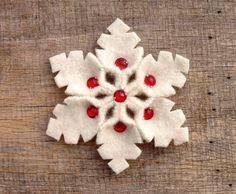 Red And White Snowflake Pin Handmade Wool Felt