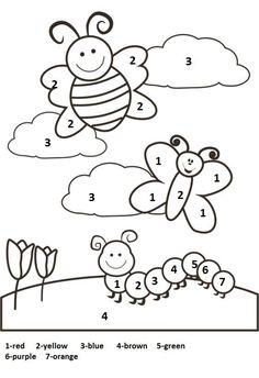 Spring Math Coloring Sheets New Color by Number Spring Worksheet 1 Kindergarten Coloring Pages, Kindergarten Colors, Preschool Colors, Numbers Preschool, Kindergarten Activities, Preschool Shapes, Preschool Alphabet, Spring Coloring Pages, Coloring Pages For Kids