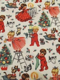 Michael Miller 0.5 Yard Cotton Fabric Vintage Retro Christmas ...