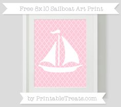 Pink Moroccan Tile  Sailboat 8x10 Art Print