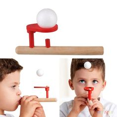 Wooden Blowing Balance Folating Ball Game Flute Shape Blow Educational Toy