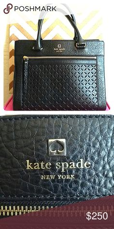 """kate spade new york perri lane romy bag 14 karat gold plated hardware.  Front zipper picket with laser cutouts. Adjustable crossbody leather strap as well as 2 side handles. Dimensions : 11 3/4"""" wide x 9 1/2"""" high x 5 1/2"""" deep. Inside zipper & magnetic closures. Excellent condition. Includes kate spade dust bag. Price is firm. No trades. Smoke free home. kate spade Bags Crossbody Bags"""