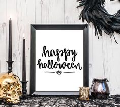 """Time to get up those last minute Halloween decorations!! Download this FREE 8x10"""" hand lettered printable from BySamantha.com for your party table or your entryway  #handletteredhalloween"""