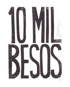 PRINT  10 mil besos BLACK block print typography by thebigharumph, $20.00