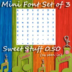 Mini Font SET of 3 - Includes THREE FULL Fonts!-These three mini fonts are a great pairing for your new TheBeanStitch designs! This listing is for three full alphabets (see below). These fonts have been designed and tested with marine vinyl.
