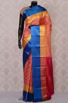 #Pink classy #kanchipuram silk #saree with blue border-SR18655 -#PURE KANCHIPURAM SILK SAREE #Sarees