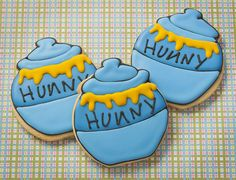 Honey Pot Winnie the Pooh style. Custom decorated sugar cookies.