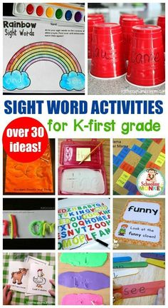 Hands On Sight Word Activities for Kindergarten and First Grade - - These fun hands on sight word activities will help kindergartners and kids in first grade learn sight words fast! Hands on learning activities are awesome! Centers First Grade, First Grade Activities, Spelling Activities, Kids Learning Activities, Hands On Activities, Fun Learning, Interactive Learning, First Grade Reading Games, First Grade Projects