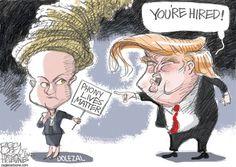 Trump and Dolezal © Pat Bagley,Salt Lake Tribune,Trump, The Donald, Donald Trump, 2016, GOP, Republican, Candidate, Presidency, Rachel Dolezal, Dolezal, NAACP, Spokan, White, Black, Race, Racism
